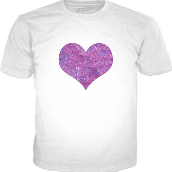Neon pink and purple swirls doodles heart Classic T-Shirt White