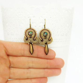 Brown soutache earrings, hazel beaded earrings, brown drop earrings, brown dangle earrings, soutache jewelry, small brown earrings