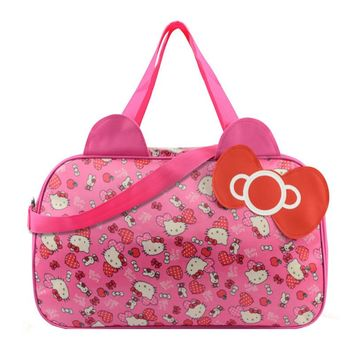 c593e6b068 Waterproof Travel Bag Luggage Womens Girls Cartoon Shoulder Tote Duffle Bags  Cute Hello Kitty Cat Handbags