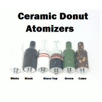 Ceramic Donut Wax and Dry Herb Atomizer - White/Black Ceramic/Glass Top