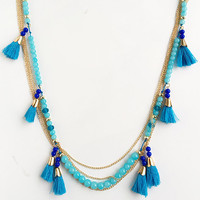 Blue Tassels Bead Necklace