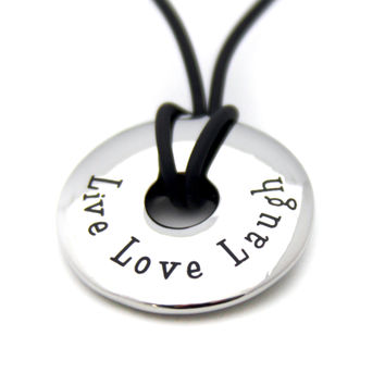 Live Love Laugh Pendant Stainless Steel Necklace
