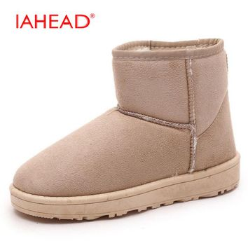 IAHEAD Winter Snow Boots Brand Ankle Rubber Boots Fashion Women Winter Shoes Cheap Woman Winter Boots Australian Boots UPA362