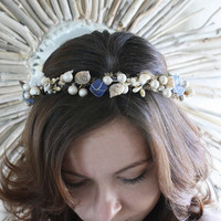 MERMAIDs delight cobalt blue sea glass, shell, pearl and moss circlet or head wreath