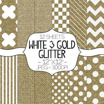 Gold & White Glitter Digital Paper Pack -  12 Sheets - Scrapbooking Card Making Graphic Design INSTANT DOWNLOAD