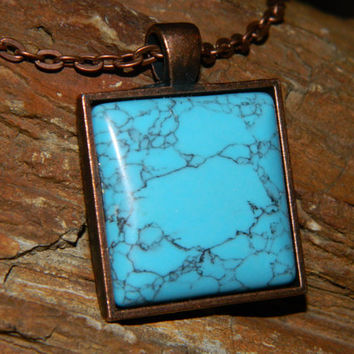 Turquoise Howlite Stone Necklace / Howlite Vein Stone in Antique Copper Square Necklace