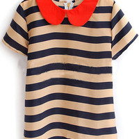 Navy Beige Stripe Peter Pan Collar Short Sleeve Zip Back Blouse - Sheinside.com