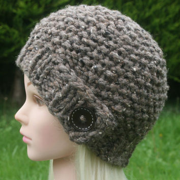 Hand Knit Hat Women's hat- Rustic Mega Chunky with wool- beanie hat- light brown with dark brown wooden button