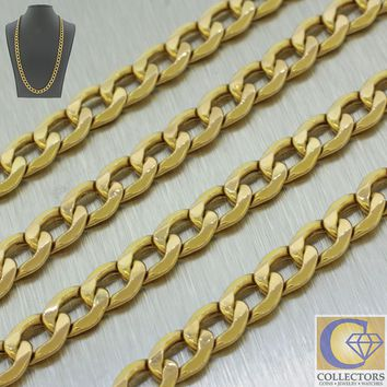 """Men's 10k Solid Yellow Gold Miami Cuban Curb Chain Link Necklace 22"""" 11.6g 7mm"""