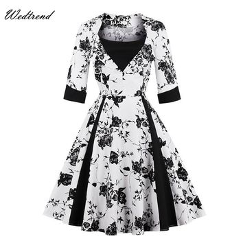 Wedtrend O-Neck Patchworks Print Zipper Vintage Dresses Audrey Hepburn Style Oversized Loose Retro Dress 1950s 1960s Cheap Dress