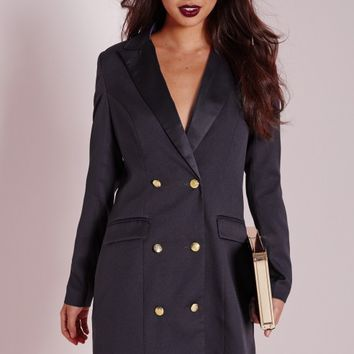 Missguided - Long Sleeve Tux Dress Navy