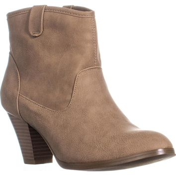 SC35 Donia Block Heel Ankle Boots, Beach, 7.5 US