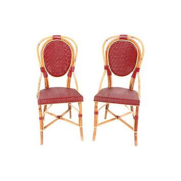 Pre-owned French Cane Bistro Chairs - A Pair