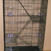 "New Economical Extra Large 5 Levels Ferret Chinchilla Sugar Glider Wire Cage For Small Animal or Bird *30""Length x 18""Depth x 55""Height With Wheel *Black*"