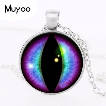 Blue and Purple Dragons Eye Cabochon Glass Silver Necklace Men Woman Jewelry HZ1