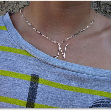 FREE SHIPPING!!!  Initial N Wire Word Pendant Necklace Cursive