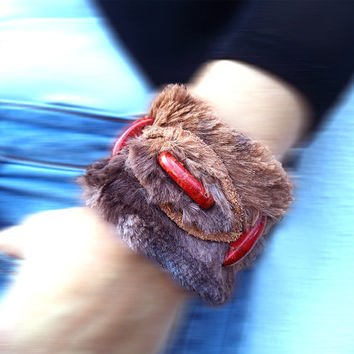 Leather and faux fur bracelet  medieval inspired, brown and auburn cuff with coral and brown leather stripes.