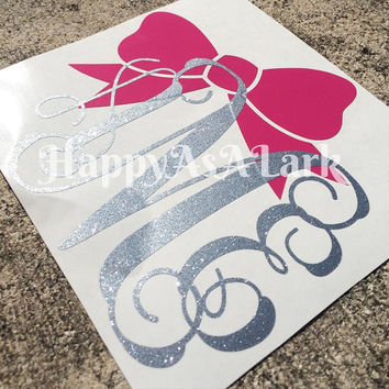 Custom personalized glitter monogram car decal with large bow