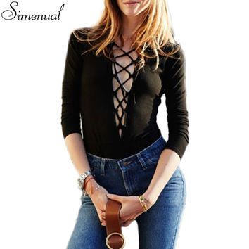 Deep V neck lace up fashion 2016 t-shirts for women long sleeve slim black sexy hot ladies t shirt tops tees hot sale t-shirt