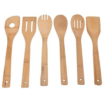 Hoomall 6PCS/lot Eco-friendly Portable Bamboo Wooden Utensil Kitchen Cooking Spoon Spatula Mixing Wood Tools Kitchen Accessories