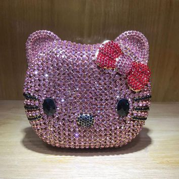 New Fashionable Hello Kitty Pink/Silver Women Crystal Evening Clutch Bags Full Dinner Bag Luxury Cute Ladies Clutch Evening Bag