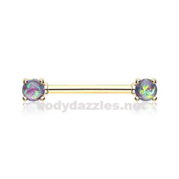 Pair of Golden Purple Opal Glitter Prong Steel Nipple Barbell Nipple Ring