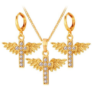 Golden Cross Wings Pendant Necklace and Earrings