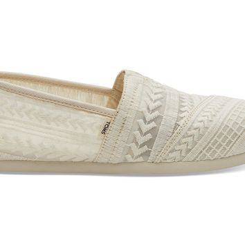 TOMS - Women's Classics Natural Arrow Embroidered Mesh Slip-Ons