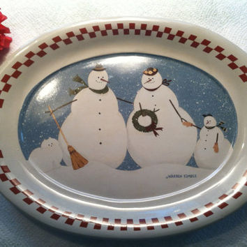 Snowman Platter 1996 Warren Kimble Winter Scene Ceramic Plate by Enesco Christmas in July Gift White Cat and Snowmen With Wreath and Broom