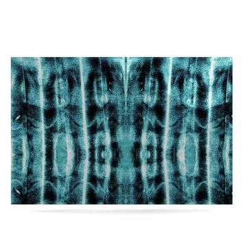 "Nina May ""Teal Vertical Shibori"" Teal White Abstract Stripes Mixed Media Watercolor Luxe Rectangle Panel"