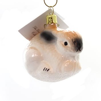 Golden Bell Collection White Easter Bunny Glass Ornament