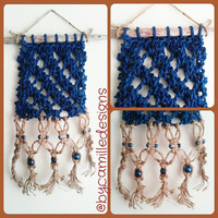 Hand Knit Macrame Jute Blue Cord Wall Hanging on Driftwood with Blue Beads READY TO SHIP