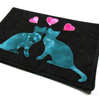 """Cats in Love 2 Mug Rug - great for coffee cup and snack - 6"""" x 9"""" - Mug Mat / Coaster"""