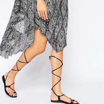 ASOS FEAR Leather Guilly Tie Flat Sandals