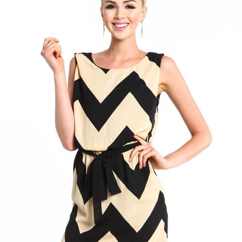 Chevron Belted Shift Dress