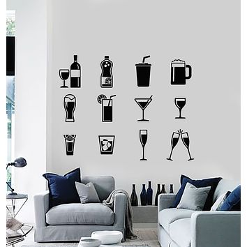 Vinyl Wall Decal Drinking Collection Glass Drink Alcohol Restaurant  Stickers Mural (g1160)