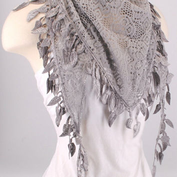 Gray Crochet Leaf Fichu Vintage Roses Scarf Shawl Cowl Triangle Sheer Hijab Fashion Lightweight Women Accessories by Creations by Terra