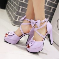 Sweet Womens Peep Toe Bowknot Ankle Strap Shoes Mary Janes High Heels Sandals