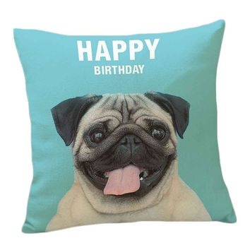 Cushion Cover French Bulldog Pug Dog Colorful Letters Pillowcase