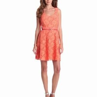 Ali Ro Women's Sleeveless Lace Dress with Belt and Exposed Zipper