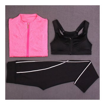 Woman Running Sports Fitness Yoga Clothes 3pcs Set   rose   S