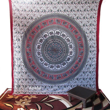 Large Queen Size Cotton Elephant Mandala Tapestry Wall Hanging Hippie Bedding Throw Bohemian Boho Ethnic Decor Art
