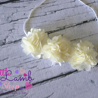 Ivory Couture Baby Headband, Satin Mesh  Baby Hair Band, Flower newborn head band, Newborn photography props, Canada