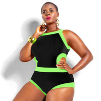 Extra Large Plus Size Slim Fit Women One Piece Summer Swimsuit Bathing Suit Bandage Bikini Set _ 234