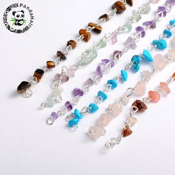 "handmade stone chips beads chains for neckalces bracelets making, with silver iron eyepins, mixed stone, 39.3""; beads: 5~9mm"
