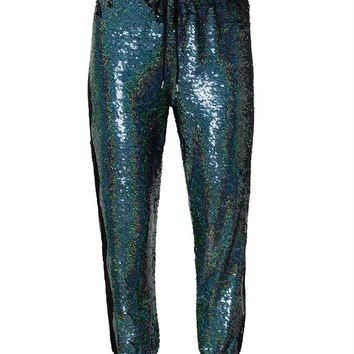 Sequinned Joggers with Lace Inserts - ASHISH