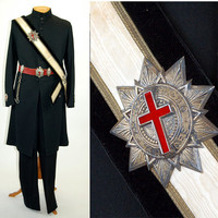 Antique Knights Templar uniform, Mason uniform, Freemasons, frock coat, pants, steampunk, fraternal order, ceremonial regalia