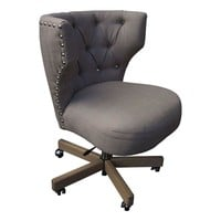 Pre-owned Giselle Office Swivel Chair in Warm Grey Linen