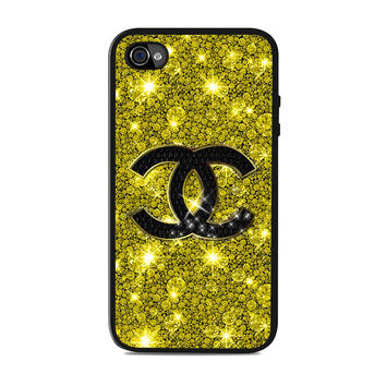 chanel gold glitter fashion logo Iphone 4S Cases