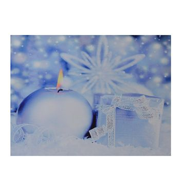 "LED Lighted Candle and Gift Wintry Scene Christmas Canvas Wall Art 12"" x 15.75"""